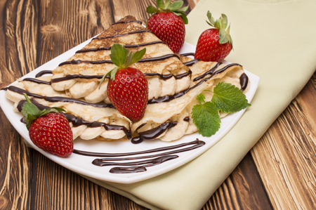 Crepes with Banana and strawberries