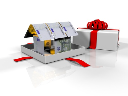 affordable: gift box in the house of banknotes on a white background, 3d render