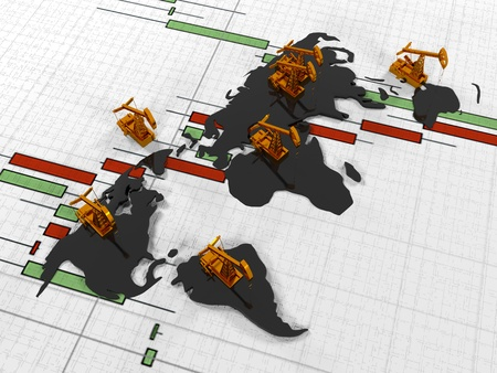 quoted: Gold Pumpjack oil on the background of the  in the circuit continents  quoted stock exchange, 3d render