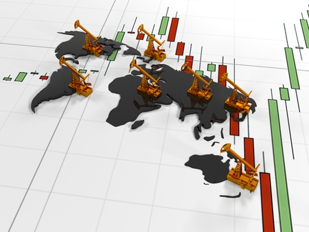 Gold Pumpjack oil on the background of the  in the circuit continents  quoted stock exchange, 3d render