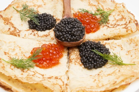 spawn: crepes with black and red caviar