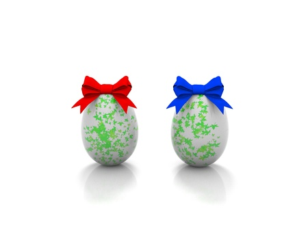 ellipse: Two Easter eggs with gift bows 3d render