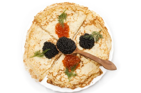 shrove: crepes with black and red caviar
