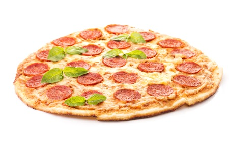 Tasty Pepperoni pizza with sausage from the top on white background Stock Photo