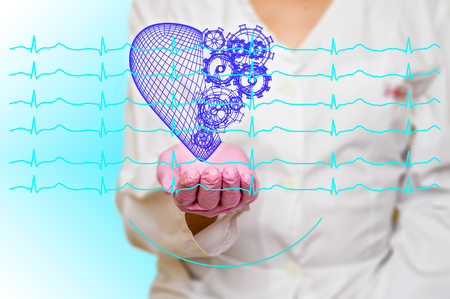 Concept of health and medicine - female doctor holding a red heart with gears with ecg lines