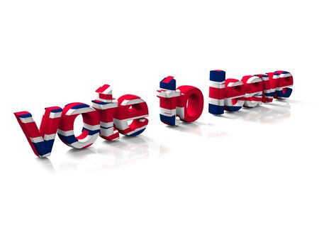 The words vote to leave in colors of the British flag , 3d render.