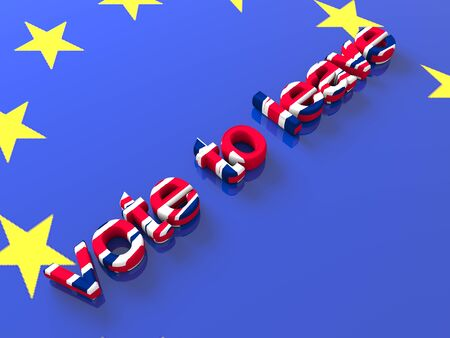 The words vote to leave in colors of the British flag. 3D render