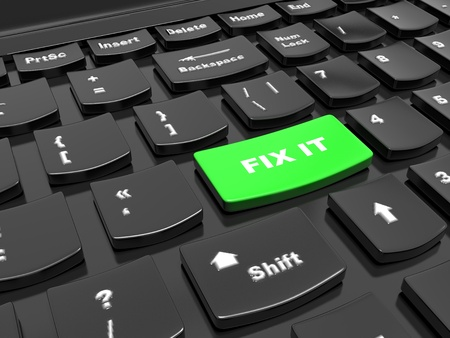 action fund: Button on the keyboard - to fix it, fix up - the help concept in addressing the problems and challenges, 3d render
