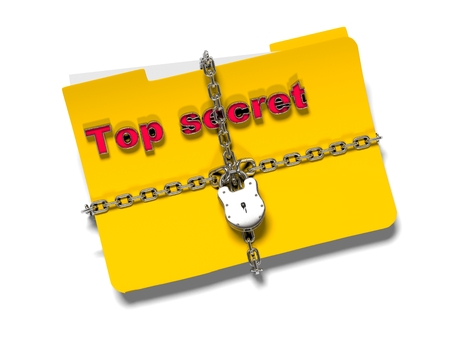 folder with chain and padlock, hidden data, security, 3d render