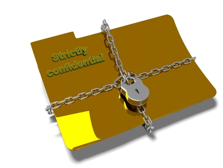 banned: folder with chain and padlock, hidden data, security, 3d render