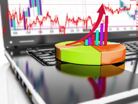 ビジネスや利益成長バー グラフ、3 d のレンダリングとノート パソコン