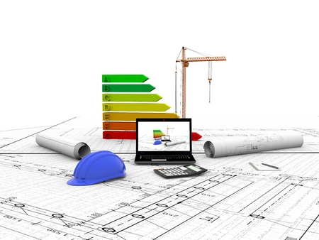 model house under construction, computer, helmet, 3D visualization 写真素材