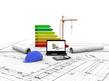 model house under construction, computer, helmet, 3D visualization Imagens