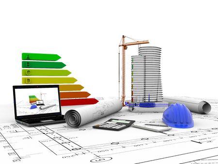 model house under construction, computer, helmet, 3D visualization Stock Photo
