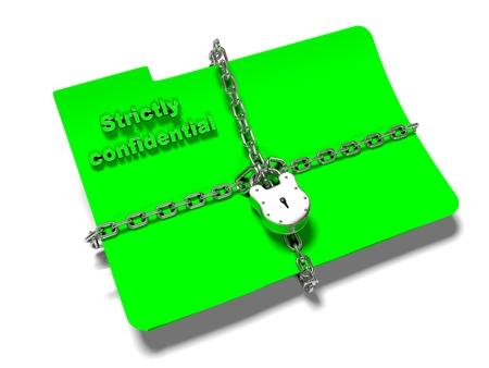 체인 및 자물쇠 파일 폴더가 닫힙니다. 개인 정보 보호 및 데이터 보안.