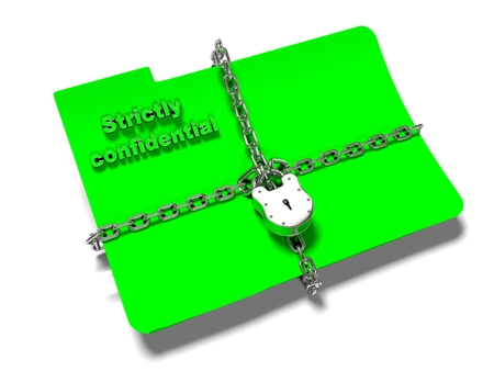 insider: a file folder with chain and padlock closed. privacy and data security.