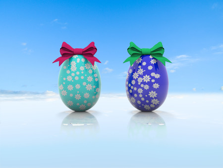 3d render Two Easter eggs with gift bows