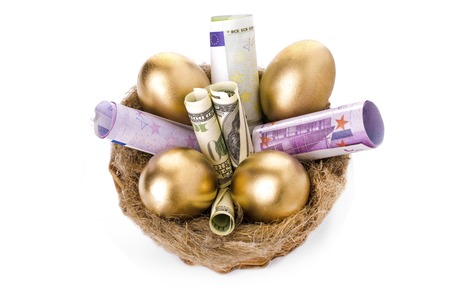 Nest with golden eggs on a white background. Golden Eggs in Nest with of Dollars and the euro Stock fotó