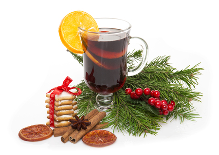 christmas mulled wine cookies spices and christmas ornaments on the wooden background stock photo