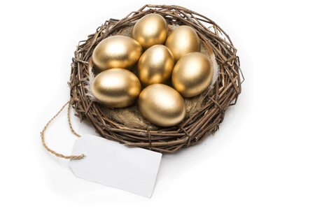 Nest with golden eggs with a tag and place for text on a white background. The concept of successful retirement Stock fotó