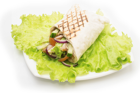 Shawarmas on lettuce isolated a white background