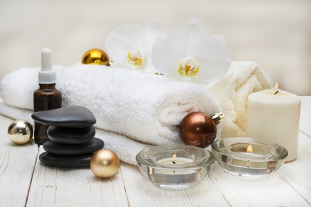 spa concept, wellness objects on wood plant , christmas background. Present holiday Stock Photo