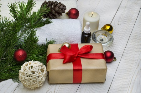 spa concept, wellness objects on wood plant , christmas background. Present holiday Standard-Bild