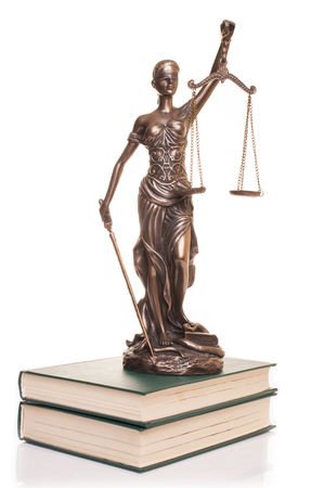 Statue of justice isolated on the white background.
