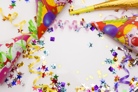 Greeting card for carnival party. hat and candles on white background.