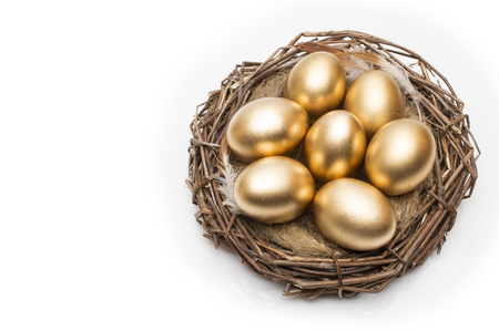 Nest with golden eggs on a white background. Golden Eggs in Nest