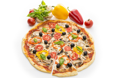 Delicious italian pizzas lifted slice 1 Isolated on white background. Pizza with ham, pepper and olives