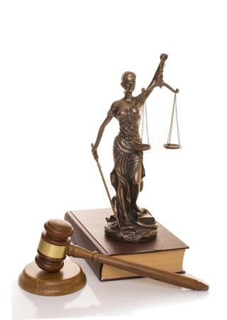 statue of justice, judges hammer behind books on a white background 스톡 콘텐츠 - 122215204