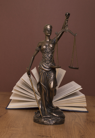 statue of justice, judges hammer behind books on a braun background