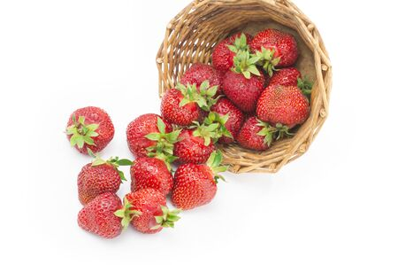 Red fresh strawberry in a bowl on white background 스톡 콘텐츠 - 124601803