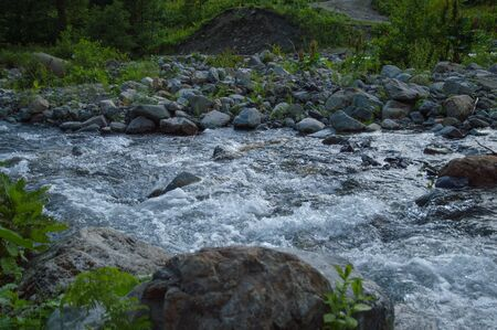 Mountain river valley landscape. Mountain valley river panorama. Mountain river flow. 스톡 콘텐츠