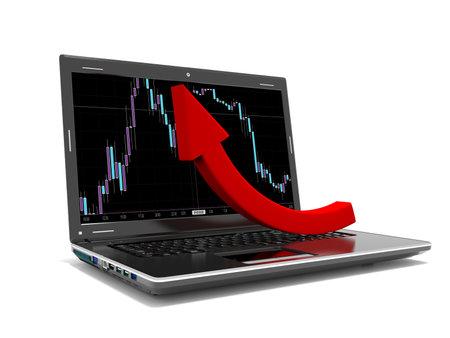 Financial lift concept on laptop screen 3d render 写真素材