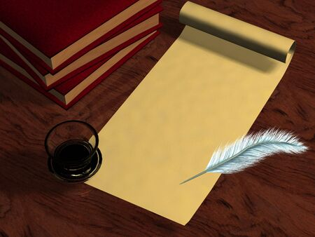3D old letter books pen