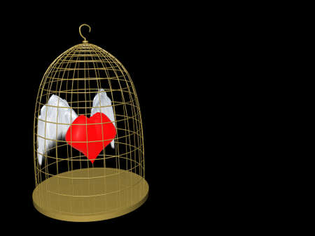soaring: Heart in cage red wings