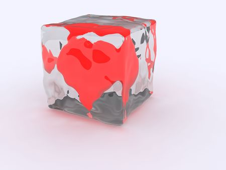 3d ice cube heart frozen Stock Photo - 2471858