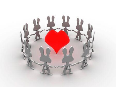 3d heart circle dancing rabbits photo