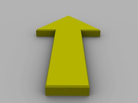 raytracing: isolated 3d yellow up pointer