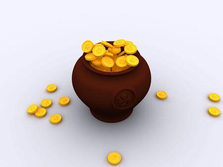 3d patrick luck pot gold Stock Photo - 2714228