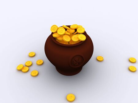 pot of gold: 3d patrick luck pot gold Stock Photo
