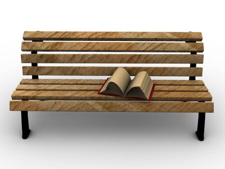 Open book on wooden bench. 3d photo