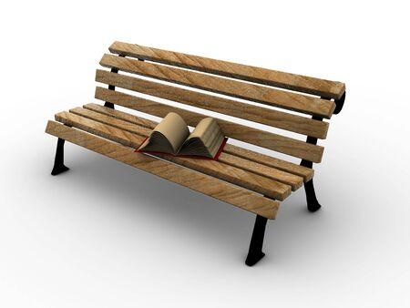 encyclopedias: Libro abierto en el banco de madera. 3d