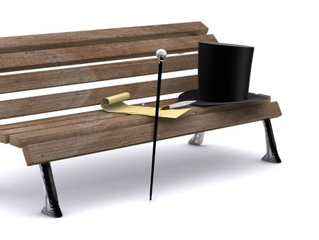 fine cane: letter on bench. 3d