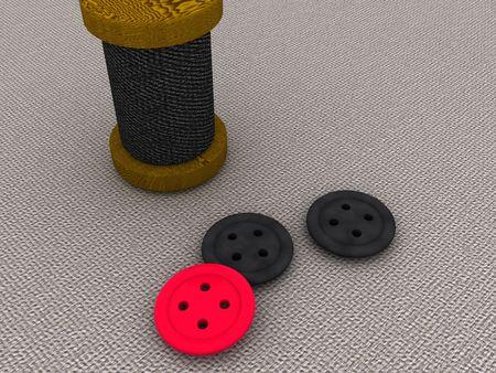 bobbin: bobbin and a buttons. 3d Stock Photo