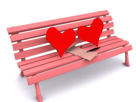 heart and letter on bench. 3D photo