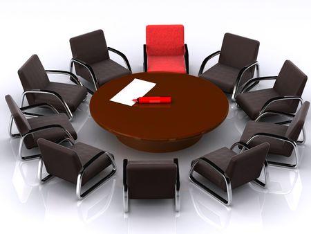 stolik, krzesło i ramieniem markera. 3d