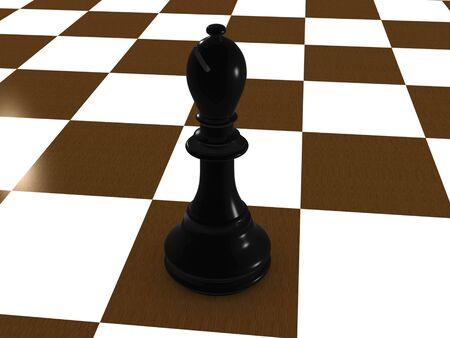 black bishop. 3D Stock Photo - 3627708
